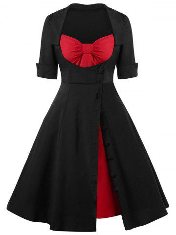 Single Breasted Lace Up 50s Dress - Red With Black - L