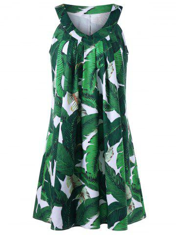 New Sleeveless Tropical Print Tent Dress GREEN XL