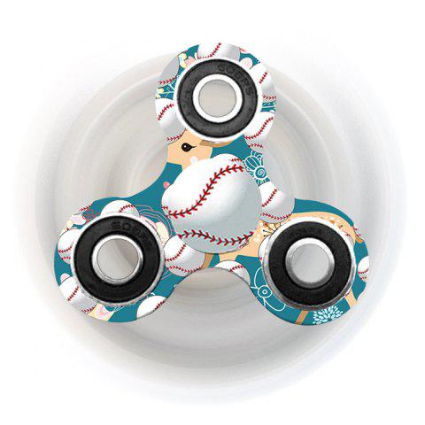 Fancy Fiddle Toy Tri-bar Baseball Patterned Plastic Fidget Spinner TURQUOISE