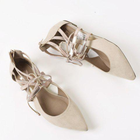 Discount Tie Up Zipper Pointed Toe Flat Shoes - 37 APRICOT Mobile