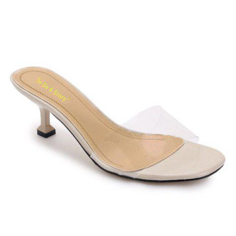 Heeled Transparent Slippers - Milk White - 39