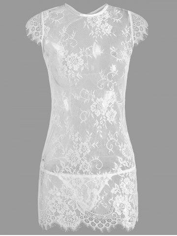 Store Cut Out Lace See Thru Babydoll - ONE SIZE WHITE Mobile