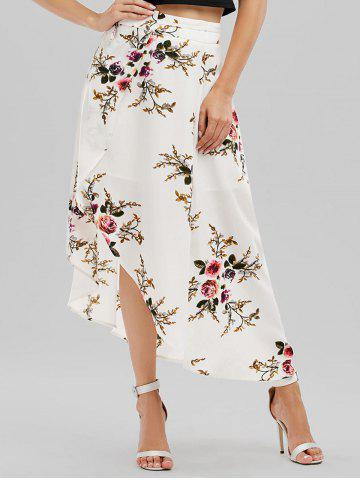 Hot Floral Asymmetrical Wrap Skirt