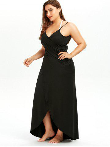 Affordable Plus Size Cover Up Beach Wrap Dress - BLACK 5XL Mobile