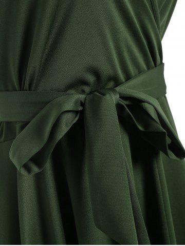 Affordable Plus Size V Neck Maxi High Low Dress - 5XL ARMY GREEN Mobile