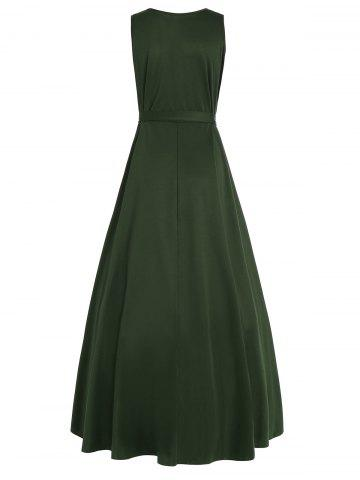 Chic Plus Size V Neck Maxi High Low Dress - 5XL ARMY GREEN Mobile