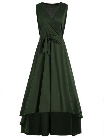 Outfit Plus Size V Neck Maxi High Low Dress - 5XL ARMY GREEN Mobile