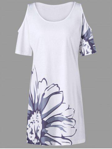 New Floral Plus Size Cold Shoulder Tee Dress - 2XL WHITE Mobile