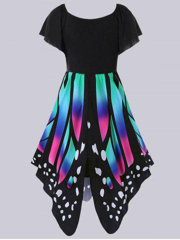 Latest Plus Size Empire Waist Butterfly Pattern Dress - 5XL BLACK AND PINK Mobile
