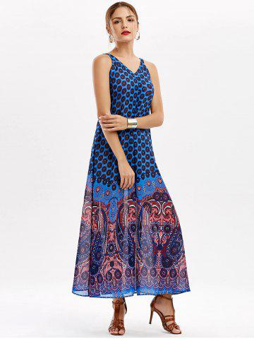 Chic Casual Paisley V Neck Maxi Summer Beach Dress - L BLUE Mobile