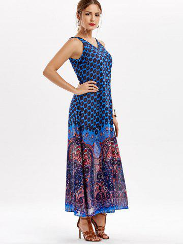 Buy Casual Paisley V Neck Maxi Summer Beach Dress - L BLUE Mobile