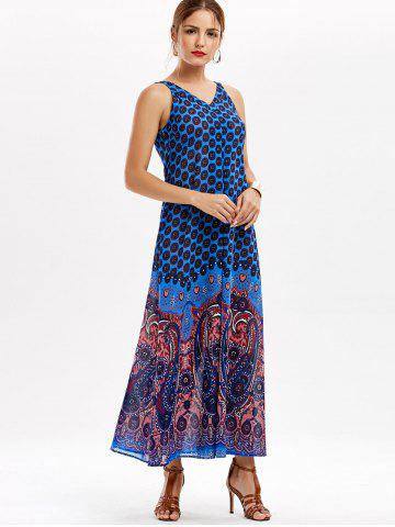 Trendy Casual Paisley V Neck Maxi Summer Beach Dress - L BLUE Mobile