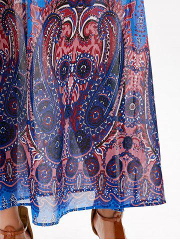 Fashion Casual Paisley V Neck Maxi Summer Beach Dress - L BLUE Mobile