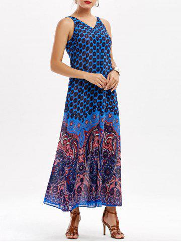 Chic Casual Paisley V Neck Maxi Summer Beach Dress - XL BLUE Mobile