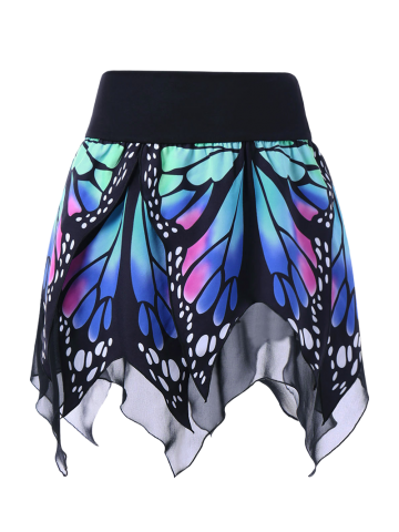 Online High Waist Butterfly Print Handkerchief Skirt BLUE M