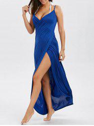 Wrap Front Maxi Slip Cover-Up Dress - BLUE