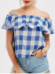 Off The Shoulder Flounce Checked Blouse