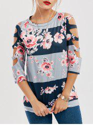 Floral Print Contrast Cut Out Tee