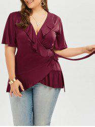 Plus Size Frilly Wrap Top