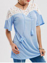 Tassels Lace Insert Tunic Top