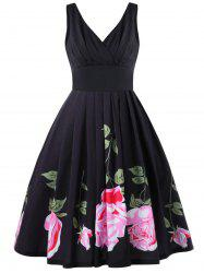 Pleated Floral Midi Fit and Flare Dress