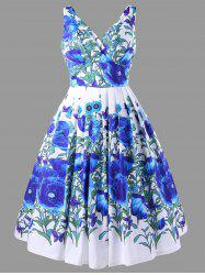 High Waisted Floral Ball Gown Dress