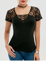Lace Panel Criss Cross T Shirt