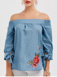 Off The Shoulder Floral Patched Blouse