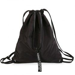 Drawstring Nylon Convertible Backpack - BLACK