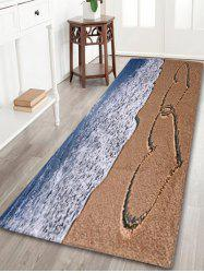 Beach Heart Print Coral Fleece Bath Area Rug - COLORMIX