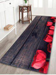 Vintage Plank Coral Fleece Floor Bathroom Rug - DUN