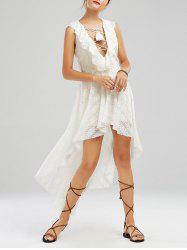 Plunging Neck Lace Up High Low Dress - OFF-WHITE