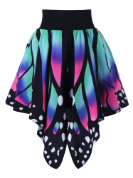 High Waist Butterfly Shape Graphic Skirt - COLORMIX