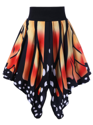 High Waist Butterfly Shape Graphic Skirt - JACINTH