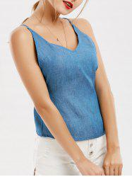 Criss Cross Open Back Denim Camisole