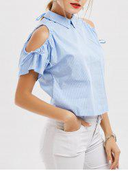 Stripe Peter Pan Collar Cold Shoulder Blouse