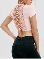 Cut Out Lace Up Crop Top - PINK XL