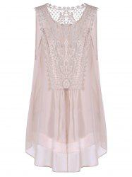 Plus Size Cutwork Long Chiffon Tank Top