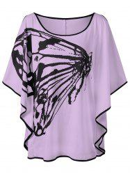 Plus Size Butterfly Pattern Slit Sleeve T-shirt