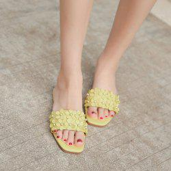 Beads Flowers Flat Heel Slippers