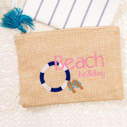 Beach Embroidery Straw Clutch bag - BEIGE