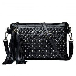 Rivet Rhinestone Tassel Crossbody Bag - BLACK