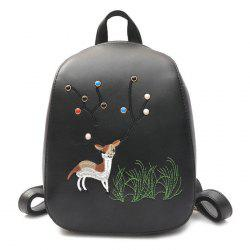 PU Leather Deer Embroidery Backpack