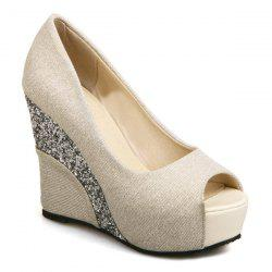 Wedge Heel Glitter Peep Toe Shoes