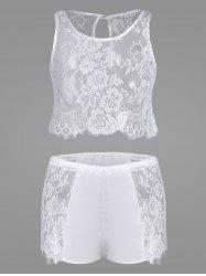 Lace Panel Sheer Pajamas Set