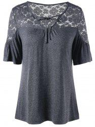 Tie Front V Neck Lace Trim Top