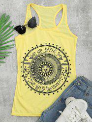 Racerback Tunic Graphic Top - Jaune