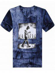 V Neck Tie Dyed Printed Tee