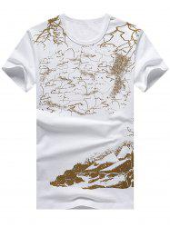 Two Tone Short Sleeve Printed Tee
