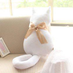 Bowknot Cat Doll Cartoon Cushion Throw Pillow Stuffed Toy - WHITE